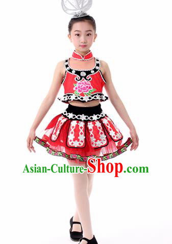 Traditional Chinese Child Miao Nationality Red Skirt Ethnic Minority Folk Dance Costume for Kids