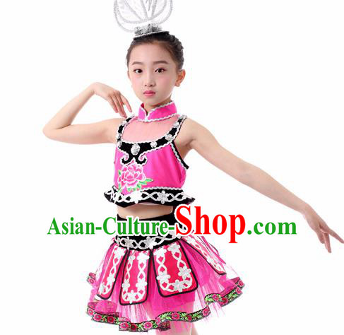 Traditional Chinese Child Miao Nationality Rosy Skirt Ethnic Minority Folk Dance Costume for Kids