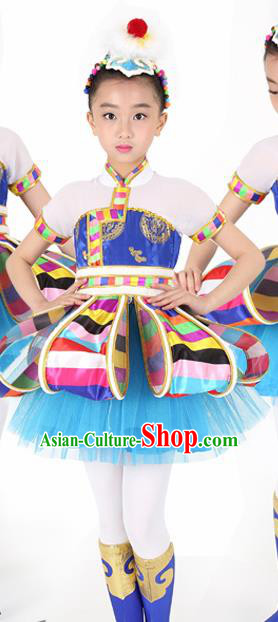 Traditional Chinese Child Tibetan Nationality Blue Dress Ethnic Minority Folk Dance Costume for Kids