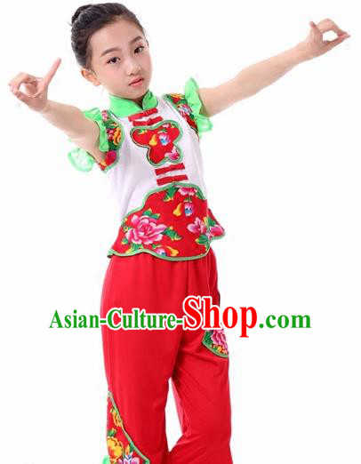 Traditional Chinese Folk Dance Fan Dance Clothing Yangko Dance Stage Show Costume for Kids