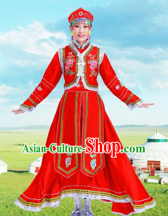 Traditional Chinese Mongol Nationality Red Dress Ethnic Minority Folk Dance Costume for Women