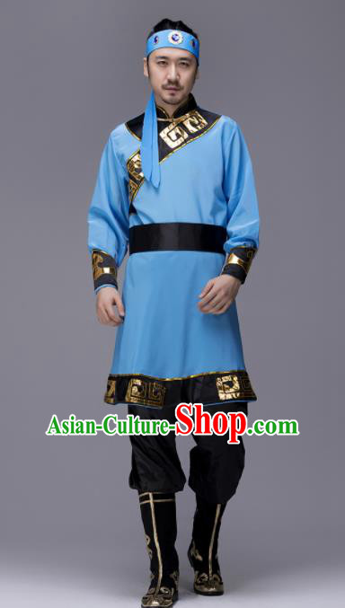 Traditional Chinese Mongol Nationality Blue Clothing Ethnic Minority Folk Dance Costume for Men