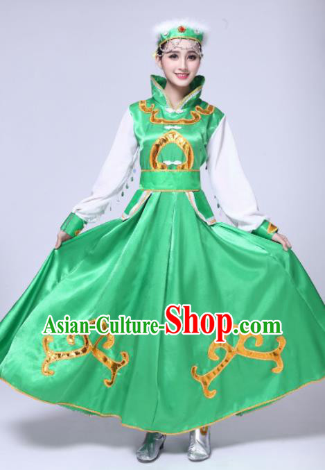 Traditional Chinese Mongol Nationality Princess Green Dress Ethnic Minority Folk Dance Costume for Women