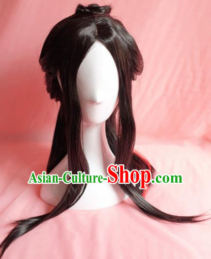 Traditional Chinese Han Dynasty Young Lady Wigs Cosplay Ancient Goddess Female Swordsman Chignon for Women