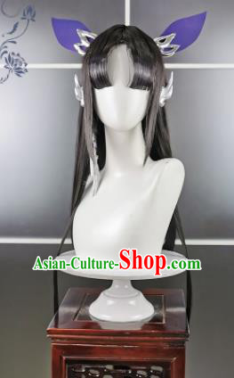 Traditional Chinese Cosplay Fairy Wigs Sheath Ancient Female Swordsman Chignon for Women