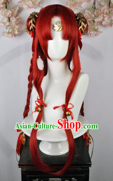 Traditional Chinese Cosplay Fairy Red Wigs Sheath Ancient Female Swordsman Chignon and Hair Accessories for Women