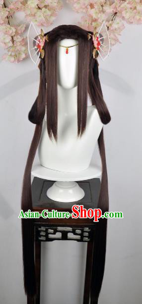 Traditional Chinese Cosplay Fairy Princess Brown Wigs Sheath Ancient Female Swordsman Chignon and Hair Accessories for Women