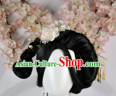Traditional Chinese Cosplay Imperial Consort Wigs Sheath Ancient Court Lady Chignon and Hair Accessories for Women