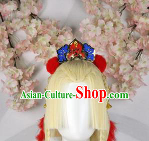 Traditional Chinese Cosplay Fairy Princess Golden Wigs Sheath Ancient Court Lady Chignon and Hair Accessories for Women