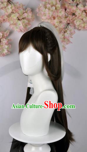Traditional Chinese Cosplay Female Swordsman Brown Wigs Sheath Ancient Fairy Princess Chignon for Women
