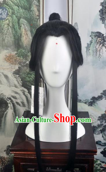 Traditional Chinese Cosplay Swordsman Chang Qin Wigs Sheath Ancient Taoist Prince Chignon for Men
