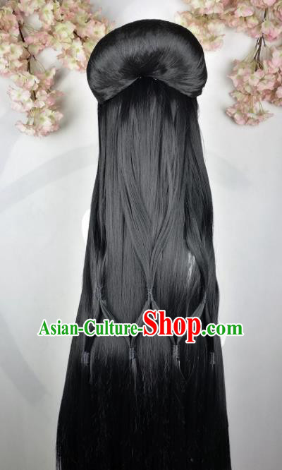 Traditional Chinese Cosplay Female Swordsman Black Wigs Sheath Ancient Princess Chignon for Women