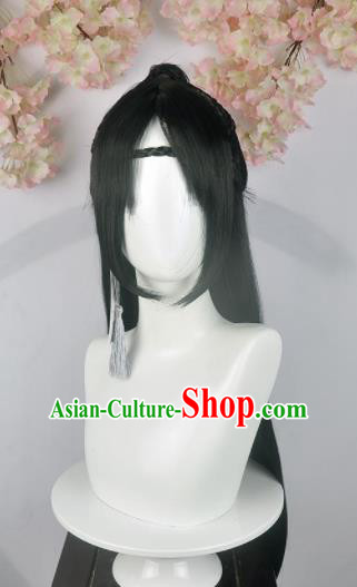 Traditional Chinese Cosplay Swordsman Wigs Sheath Ancient Nobility Childe Prince Chignon for Men