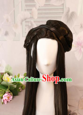 Traditional Chinese Ming Dynasty Geisha Wigs Cosplay Ancient Goddess Female Swordsman Chignon for Women