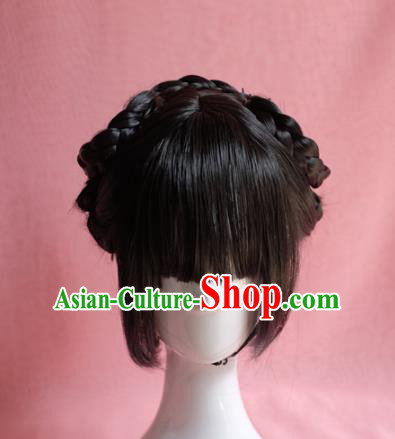 Traditional Chinese Song Dynasty Nobility Lady Wigs Sheath Cosplay Ancient Goddess Female Swordsman Chignon for Women