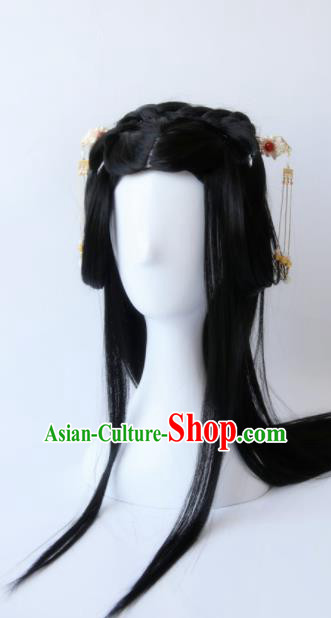 Traditional Chinese Cosplay Princess Shi Sanyue Black Long Wigs Sheath Ancient Female Swordsman Chignon for Women