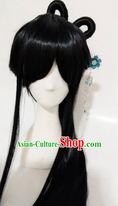 Traditional Chinese Cosplay Queen Bai Qian Black Long Wigs Sheath Ancient Female Swordsman Chignon for Women