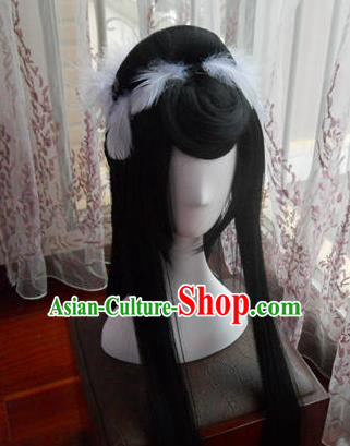 Traditional Chinese Cosplay Empress Bai Qian Black Long Wigs Sheath Ancient Female Swordsman Chignon for Women