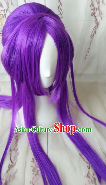 Traditional Chinese Cosplay Princess Purple Long Wigs Sheath Ancient Female Swordsman Chignon for Women