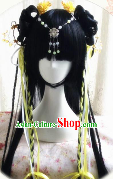Traditional Chinese Cosplay Peri Princess Long Wigs Sheath Ancient Female Swordsman Chignon for Women