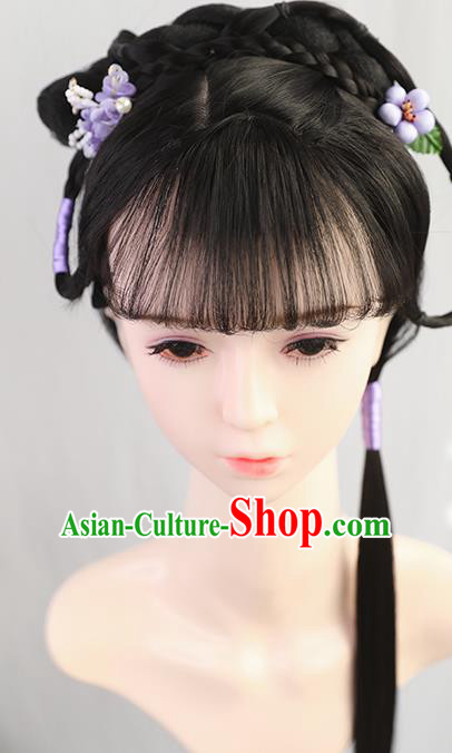 Traditional Chinese Cosplay Ming Dynasty Princess Wigs Sheath Ancient Nobility Lady Chignon for Women