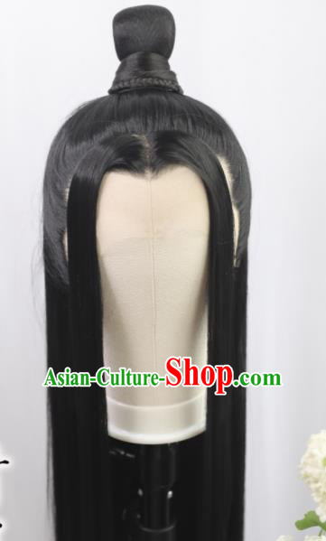 Traditional Chinese Cosplay Taoist Lan Wangji Wigs Sheath Ancient Young Swordsman Chignon for Men