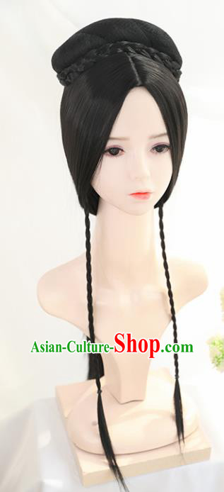 Traditional Chinese Cosplay Han Dynasty Queen Wigs Sheath Ancient Goddess Nobility Lady Chignon for Women