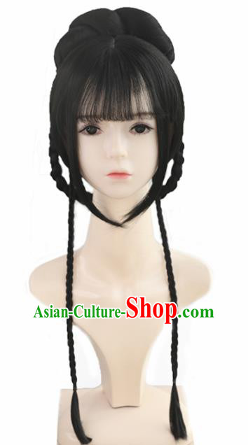 Traditional Chinese Cosplay Song Dynasty Princess Wigs Sheath Ancient Nobility Lady Chignon for Women