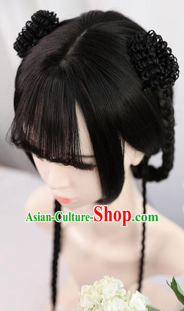 Traditional Chinese Cosplay Song Dynasty Nobility Lady Wigs Sheath Ancient Queen Chignon for Women
