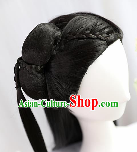 Traditional Chinese Cosplay Ming Dynasty Nobility Lady Wigs Sheath Ancient Princess Chignon for Women