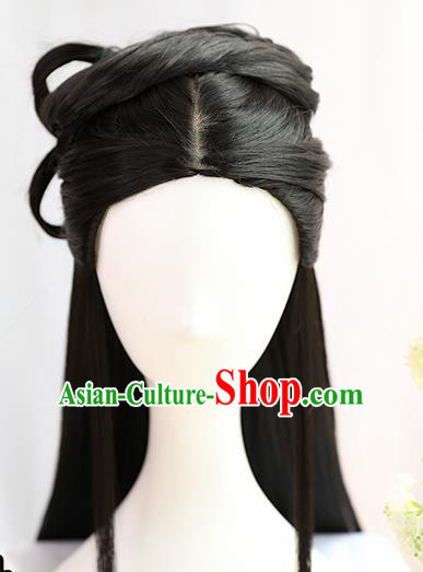 Traditional Chinese Cosplay Song Dynasty Nobility Lady Wedding Wigs Sheath Ancient Princess Chignon for Women
