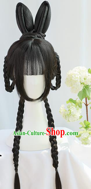 Traditional Chinese Cosplay Song Dynasty Nobility Lady Wigs Sheath Ancient Fairy Yu Tu Chignon for Women