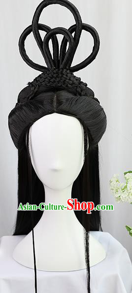 Traditional Chinese Cosplay Jin Dynasty Palace Princess Wigs Sheath Ancient Flying Apsaras Chignon for Women