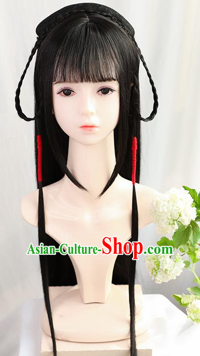 Traditional Chinese Cosplay Ming Dynasty Palace Princess Wigs Sheath Ancient Flying Apsaras Chignon for Women