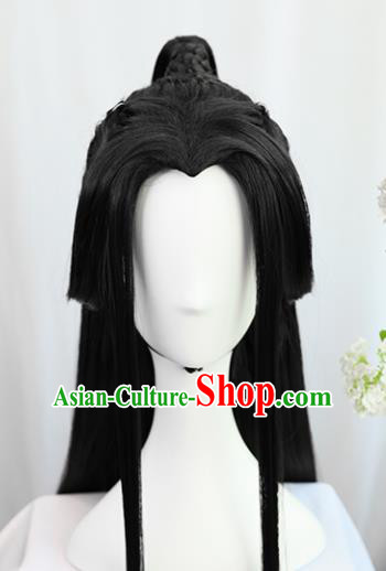 Traditional Chinese Cosplay Taoist Priest Prince Xie Lian Wigs Sheath Ancient Young Swordsman Chignon for Men