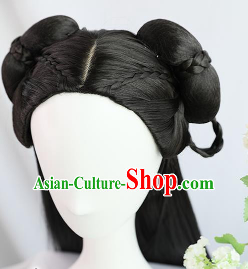 Traditional Chinese Cosplay Ming Dynasty Court Princess Wigs Sheath Ancient Nobility Lady Chignon for Women