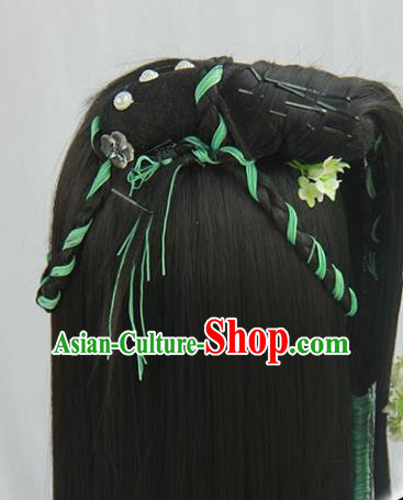 Traditional Chinese Cosplay Ming Dynasty Female Swordsman Wigs Sheath Ancient Flying Apsaras Chignon for Women