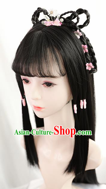 Traditional Chinese Cosplay Song Dynasty Swordswoman Huang Rong Wigs Sheath Ancient Nobility Lady Chignon for Women