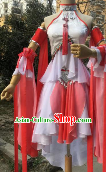 Traditional Chinese Cosplay Female Swordsman Short Dress Ancient Drama Fairy Costumes for Women