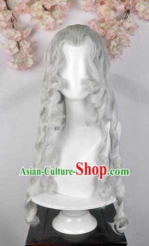 Traditional Chinese Cosplay Swordsman Queen White Wigs Sheath Ancient Goddess Chignon for Women
