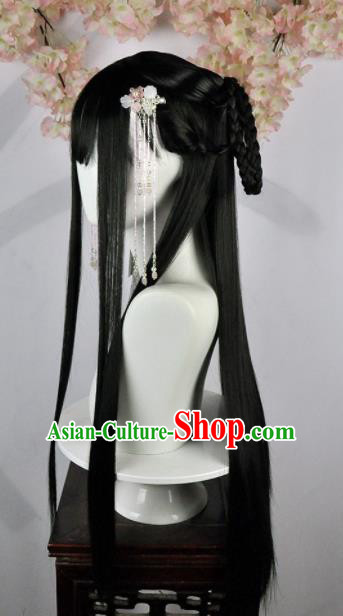 Traditional Chinese Cosplay Swordsman Black Long Wigs Sheath Ancient Goddess Chignon for Women