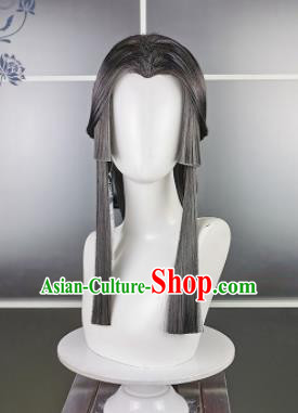 Traditional Chinese Cosplay Taoist Nun Deep Grey Wigs Sheath Ancient Swordsman Goddess Chignon for Women