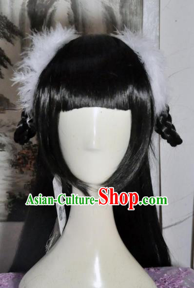 Traditional Chinese Cosplay Swordsman Biyao Wigs Sheath Ancient Goddess Princess Chignon for Women