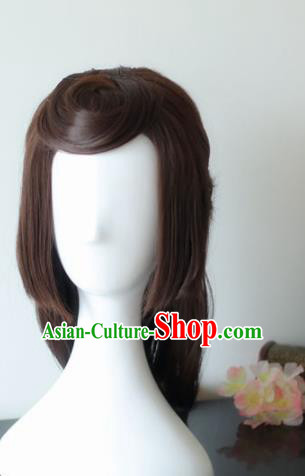 Traditional Chinese Cosplay Princess Brown Wigs Sheath Ancient Female Swordsman Chignon for Women