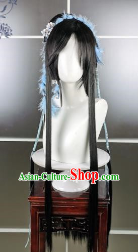Traditional Chinese Cosplay Palace Princess Black Wigs Sheath Ancient Goddess Chignon for Women