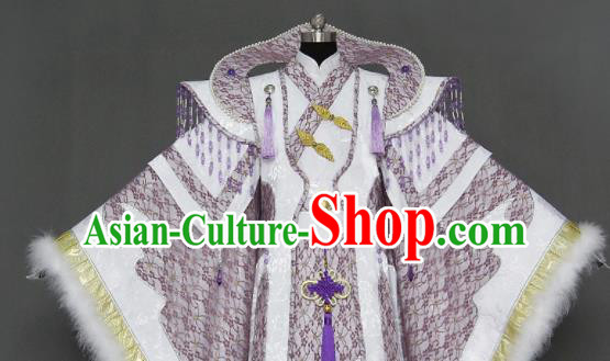 Traditional Chinese Cosplay Queen Lilac Dress Ancient Drama Female Swordsman Costumes for Women