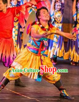 Chinese Happiness On The Way Zang Nationality Yellow Clothing Stage Performance Dance Costume for Men