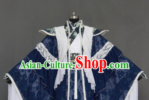 Chinese Cosplay Royal Highness Deep Blue Embroidered Costumes Ancient Swordsman Clothing for Men