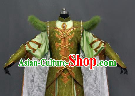 Traditional Chinese Cosplay Goddess Queen Green Dress Ancient Drama Female Swordsman Costumes for Women