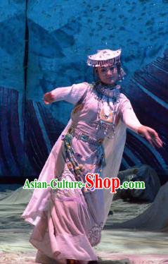 Chinese Happiness On The Way Zang Nationality Bride Dance White Dress Stage Performance Costume and Headpiece for Women